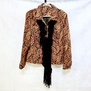 UNBRANDED Velvet Button Up Paisley Jacket